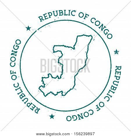 Congo Vector Map. Retro Vintage Insignia With Country Map. Distressed Visa Stamp With Congo Text Wra