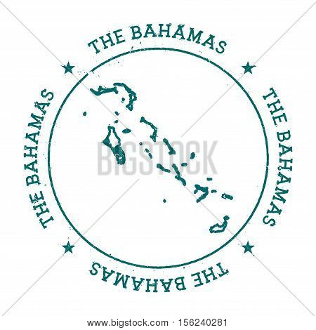 Bahamas Vector Map. Retro Vintage Insignia With Country Map. Distressed Visa Stamp With Bahamas Text