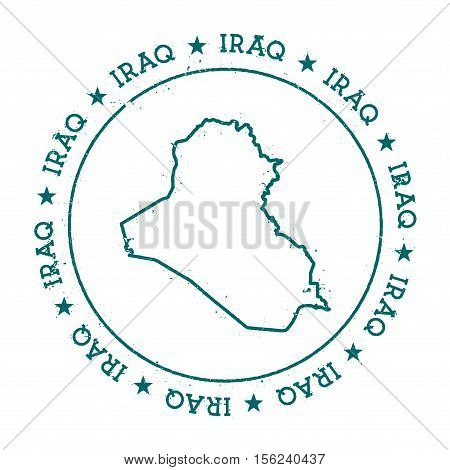 Iraq Vector Map. Retro Vintage Insignia With Country Map. Distressed Visa Stamp With Iraq Text Wrapp