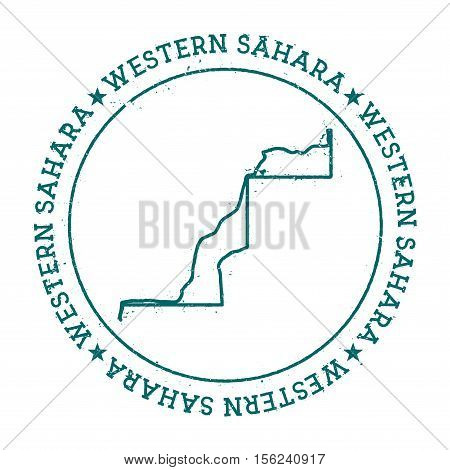 Western Sahara Vector Map. Retro Vintage Insignia With Country Map. Distressed Visa Stamp With Weste