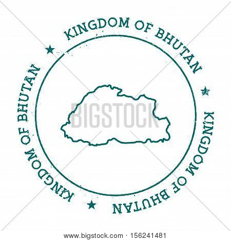 Bhutan Vector Map. Retro Vintage Insignia With Country Map. Distressed Visa Stamp With Bhutan Text W