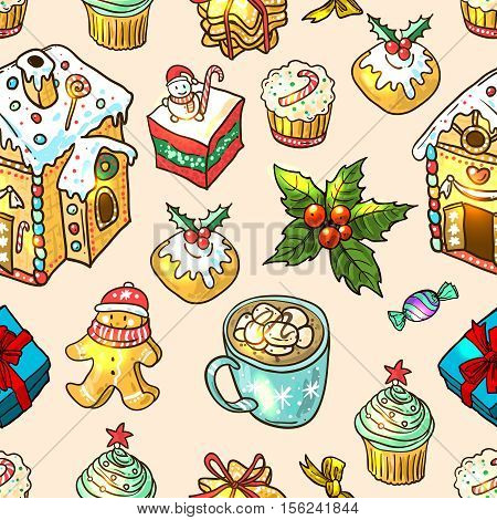 Beautiful hand drawn vector food seamless pattern christmas sweets. Use for postcard, card, invitations and christmas decorations.