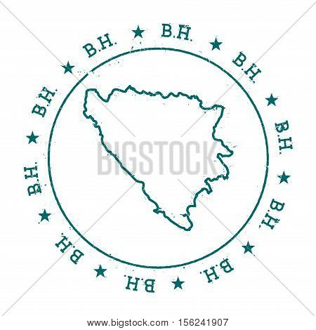 Bosnia And Herzegovina Vector Map. Retro Vintage Insignia With Country Map. Distressed Visa Stamp Wi