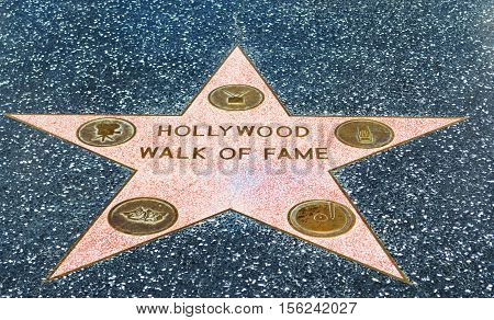 LOS ANGELES CALIFORNIA - NOVEMBER 02 2016: Hollywood Walk of Fame