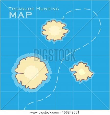 Treasure Hunting Map. Vector illustration for the game.