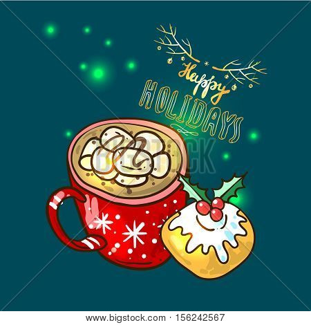 Beautiful hand drawn vector food illustration christmas sweets. Use for postcard, card, invitations and christmas decorations.