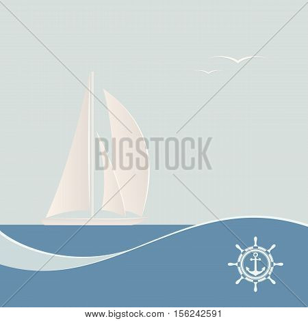 Sailing ship. Sea poster sailing yacht on waves in retro style. Vector illustration.