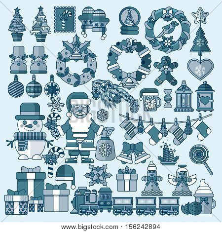 Stock vector illustrations set Christmas accessories in a linear style design elements for decoration backgrounds, printed materials, web sites, cards, covers, wallpaper