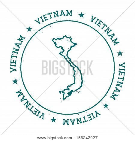 Vietnam Vector Map. Retro Vintage Insignia With Country Map. Distressed Visa Stamp With Vietnam Text