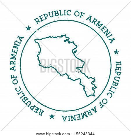 Armenia Vector Map. Retro Vintage Insignia With Country Map. Distressed Visa Stamp With Armenia Text