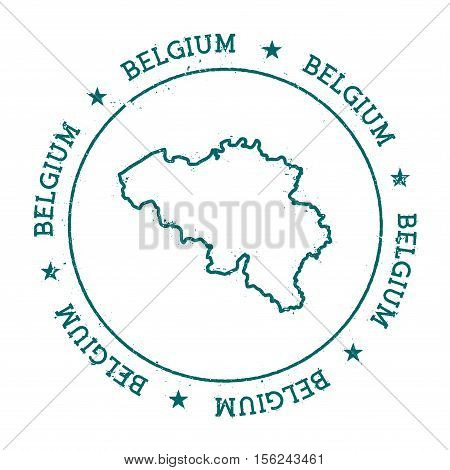 Belgium Vector Map. Retro Vintage Insignia With Country Map. Distressed Visa Stamp With Belgium Text
