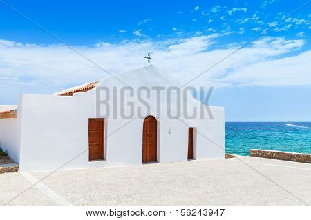 Agios Nikolaos. White Orthodox Church, Greece