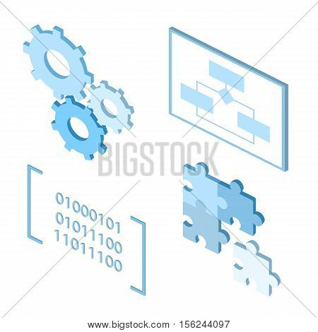 software development life-cycle process vector icons. Flat icons