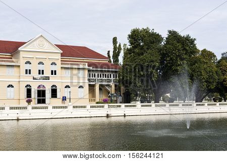 AYUTTHAYA, THAILAND - November 4, 2016: View of colonial style Saphakhan Ratchaprayun the Assembly Hall for Royal Relatives two-storeyed building at the Bang Pa-in Palace compound Thailand