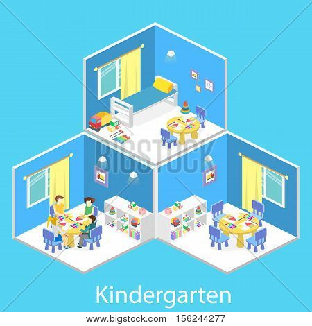Isometric interior of room in the kindergarten. Children draw. Flat vector 3D illustration