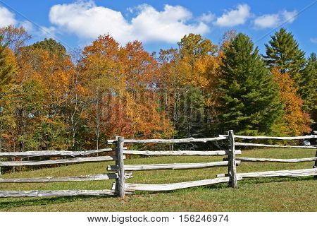 a split rail fence in the foreground, colorful autumn foliage in the background