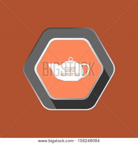 Teapot of fruit tea vector icon with shadow on the hexagon rouse background.