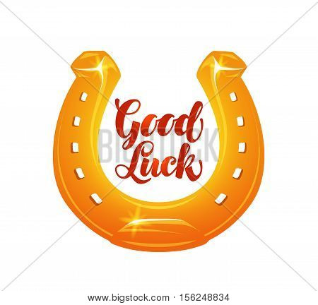 Golden horseshoe for luck. Vector illustration isolated on white background