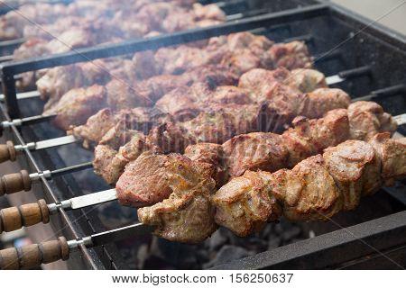 Meat strung on skewers when cooking kebabs. Food