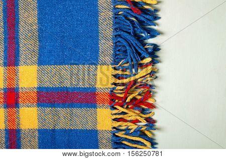 Blue vintage blanket tartan plaid wth copy space, texture background.