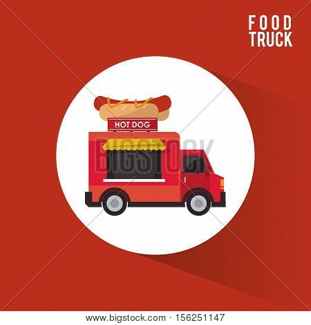 Hot dog food truck icon. Urban american culture menu and consume theme. Colorful design. Vector illustration