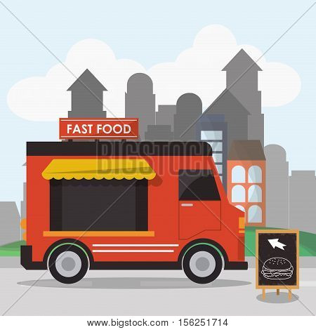 Food truck icon. Urban american culture menu and consume theme. Colorful design. Vector illustration