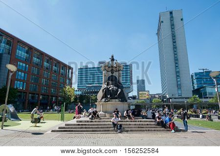 Manchester, England - 19 July 2016 : Piccadilly Gardens is a green space in Manchester city centre, between Market Street and the edge of the Northern Quarter on 19 July 2016 in Manchester, England