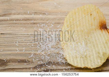 Close up of mono sodium glutamate with snack high sodium