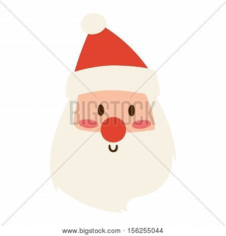 Santa Claus flat icon vector illustration. Santa Claus cartoon red hat silhouette isolated on shite traditional costume.Santa Claus icon avatar face