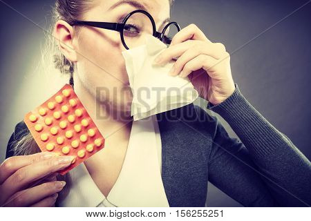 Businesswoman Having Flu Grippe.