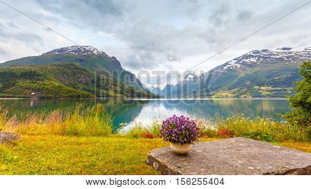 Mountains Landscape, Fjord And Rest Place, Norway