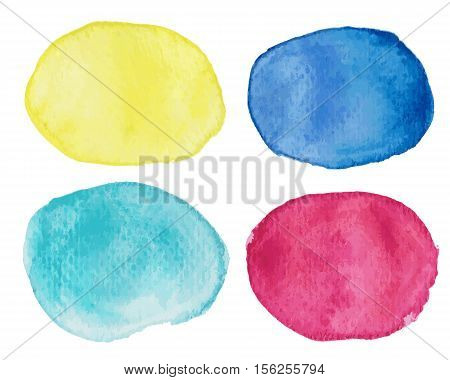 Abstract vector blots with watercolor effect. Watercolor blots in pink yellow blue and turquoise or mint. Watercolor speech bubble. Watercolor text cloud. Watercolor design element in vector format