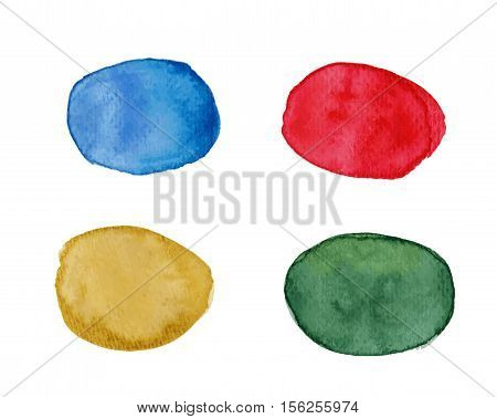 Multicolored vector blots with watercolor effect. Abstract vector blots in red yellow beige blue and green. Watercolor speech bubble. Watercolor text cloud. Watercolor textures isolated on white