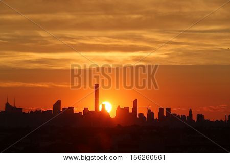 NEW YORK -SEPTEMBER 5, 2016: New York City skyline panorama at sunset