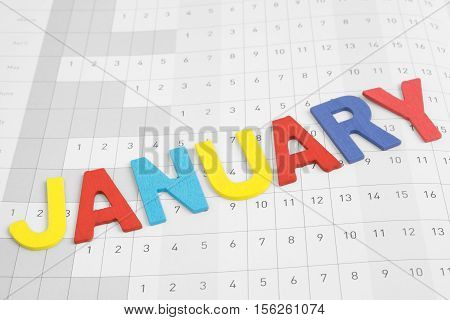 January - monthly on date number calendar paper - colorful uppercase text