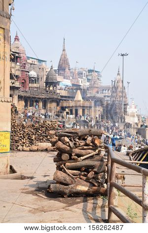 VARANASI, UTTAR PRADESH INDIA - FEBRUARY 17, 2016 - Wooden pyres ready for the cremation rituals on the ghats