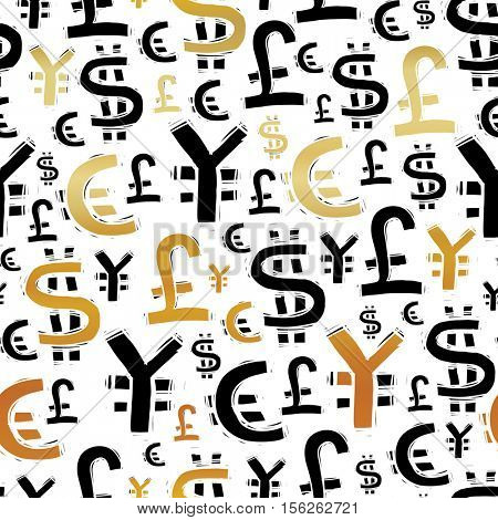 Black and gold currency signs (usd, pound, euro and yen). On white background. Seamless pattern. Vector illustration