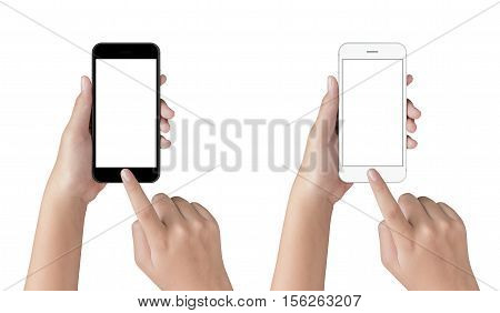 hand touching on phone isolated with clipping path on white background blank screen on mock up smart phone for adjustment your app screen