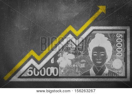 Money Growth Graph On A Chalk Board