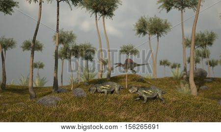 3d illustration of the grazing lystrosaurus