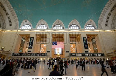 NEW YORK CITY - MAY 6: Grand Central Terminal Interior of Main Concourse on May 6th, 2013 Manhattan, New York City, USA.