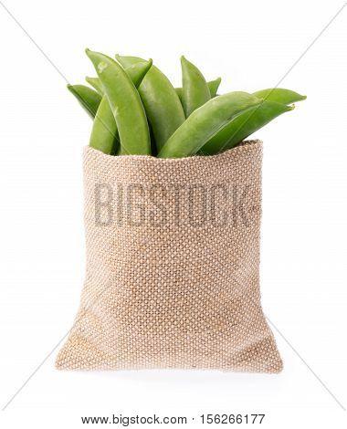 Textile-burlap Sack Of String Bean Isolated On White Background