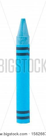 colorful of blue crayon isolated on white background