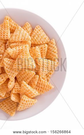 Dish Of Snacks Isolated On A White Background