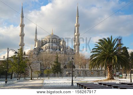 ISTANBUL, TURKEY - JANUARY 09 2015: Sultan Ahmet Camii (Blue mosque), cloudy January day. The historical landmark