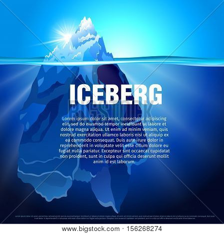 Vector illustration of Iceberg in dark blue ocean. Isolated water ice mountain tip. Baner and poster template with the snow hill picture.