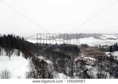 Rural landscape on the overcast winter day