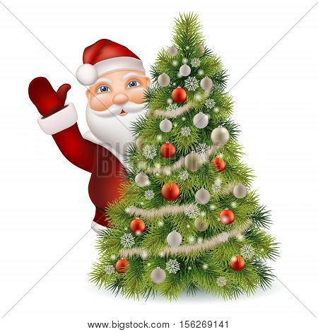 Santa Claus peeking out of a decorated christmas tree and welcomed. Christmas character vector isolated.
