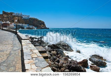 Greece Dodecanese Nissyrosthe waterfront of the Mandraki village