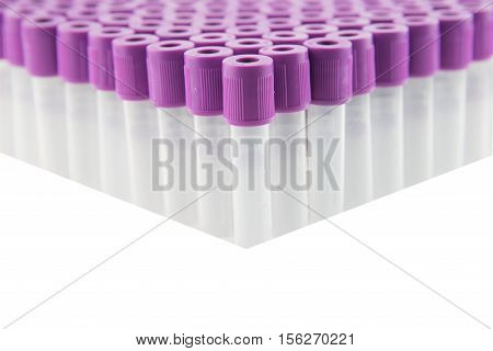 EDTA Blood sample tube,Blood collection tube for laboratory isolated on white background(have clipping path)